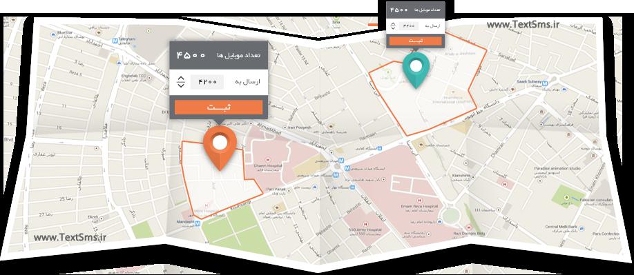 ارسال پیامک تبلیغاتی از روی نقشه شهر بکمک نقشه آنلاین گوگل
